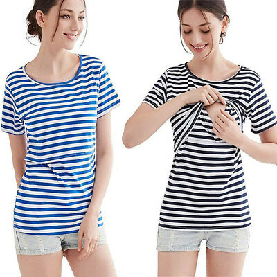 UK Striped Maternity Clothes Pregnant Women Nursing Top Breastfeeding T-Shirt