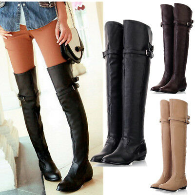 AU Fashion Winter Women Flat low Heel Over Knee Buckle zip Thigh High Long Boots