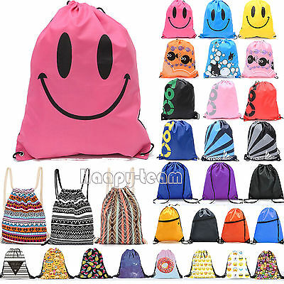 School Drawstring Book Bag Sports Gym Swim PE Dance Shoes Backpack Cinch Sack