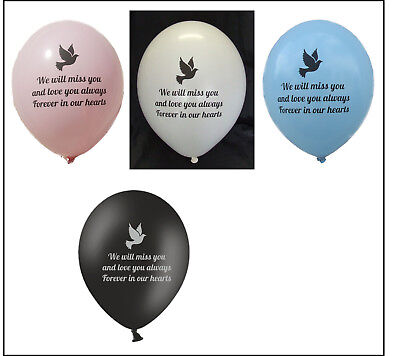 10 remembrance funeral balloons for balloon releases white, blue or pink