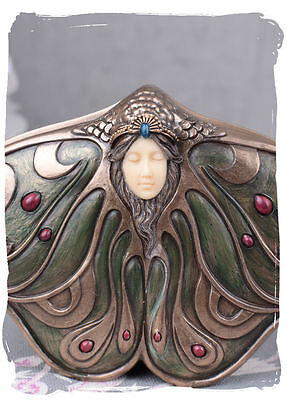 Covered Dish Art Nouveau Jewellery Box Antique Woman's Head Butterfly