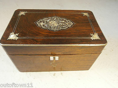 Antique Boulle French Rosewood  Tea Caddy  Box Mother of Pearl    ref 0133