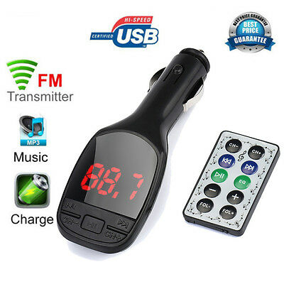 Remote Wireless Car MP3 Player FM Transmitter Modulator Car Kit USB Charger SD