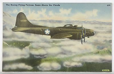 The Boeing Flying Fortress Soars Above The Clouds - Vintage Military Postcard.