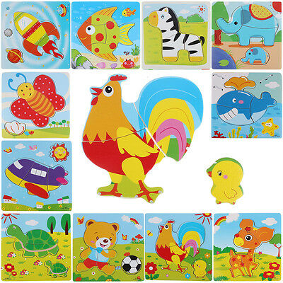 Wooden Puzzle Educational Developmental Baby Kids Training Toy Animal Gift Toys