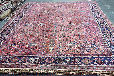 Antique Mahal Sultanabad Persian Allover Hand Knotted Wool Area Rug 10'4 x 14'4