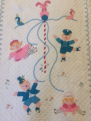Antique baby quilt c1930's Maypole dance Appliqué masterpiece