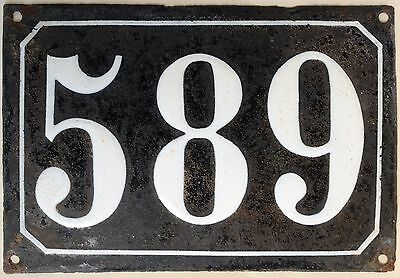 Large old black French house number 589 door gate plate plaque enamel metal sign
