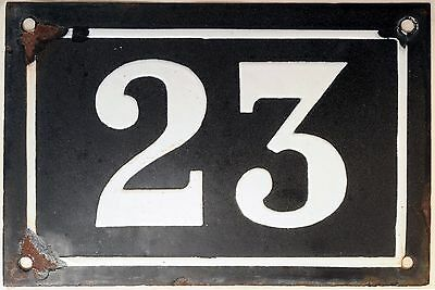 Large old black French house number 23 door gate plate plaque enamel metal sign