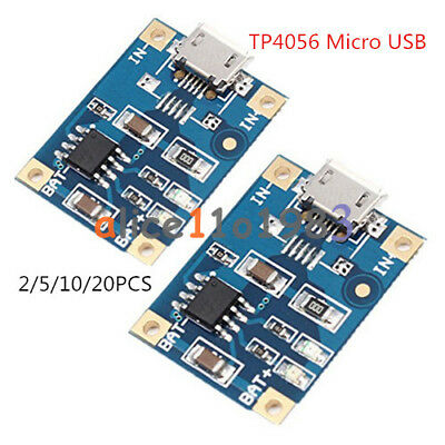 2/5/10/20PCS TP4056 Micro USB Charger 5V 1A 18650 Lithium Battery Charging Board