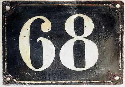 Large old black French house number 68 door gate plate plaque enamel metal sign