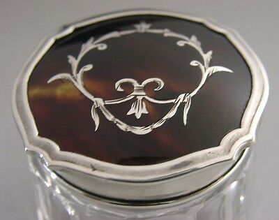 Beautiful English Sterling Silver And Glass Trinket Pot / Box 1928 Antique