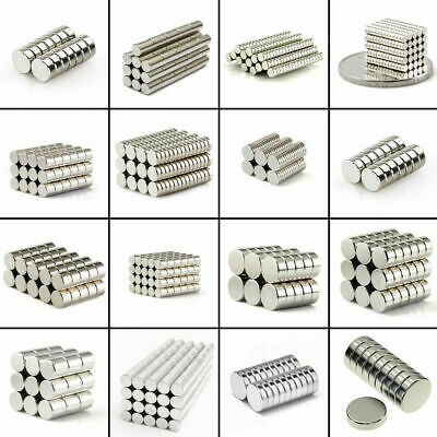 Lot 25 50 100 Pcs Round Disc Magnets Rare Earth Neodymium Magnet N50 N48 N52 N42