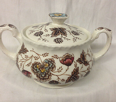 Grindley Old Chelsea Multi-Color Floral On Cream Covered Sugar Bowl 5 1/2""