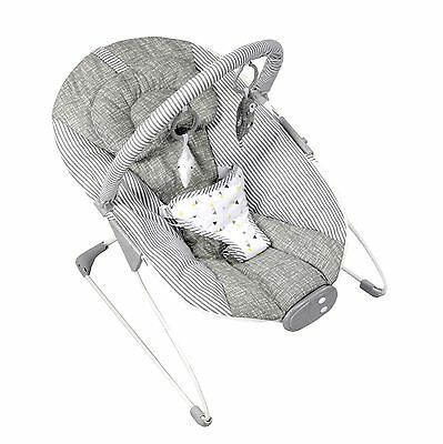 New Red Kite Grey Linen Cozy Bounce Musical Vibrating Baby Bouncer Chair