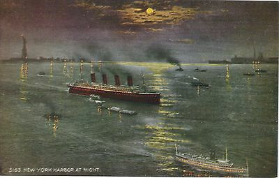 OLYMPIC Arrives New York Harbor TITANIC  WHITE STAR LINE MINT Vintage Postcard