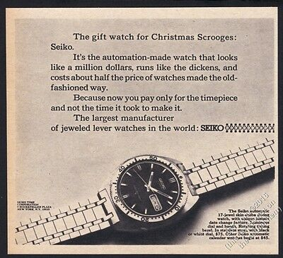 1968 Seiko skin scuba diving diver's watch photo vintage print ad