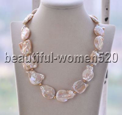 Z6313 Big 24 mm Gray Baroque Keshi reborn perle cristal collier 21 in environ 53.34 cm