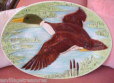 "Huge 21"" Antique Flying Mallard Duck In Relief Ceramic Serving Platter"