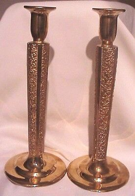 Gorgeous!! Vintage Antique Pair Heavy Tall Brass Candlestick Candle Holder