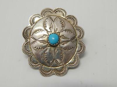 Bolo Tye  Navajo Indian Vintage Sterling Silver Turquoise  A+ Stamped Designs Nr