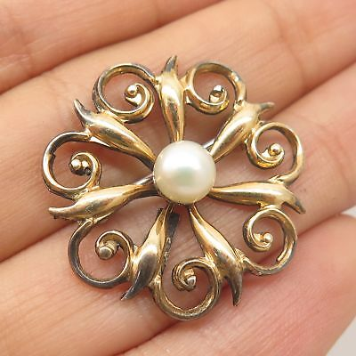 Vtg 925 Sterling Silver Gold Plated Real Pearl Round Pin Brooch