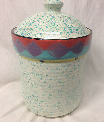 "Treasure Craft Usa Paradise Flour Canister & Lid 9 5/8"" Diamond Blue Speckled"