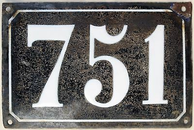 Large old black French house number 751 door gate plate plaque enamel metal sign