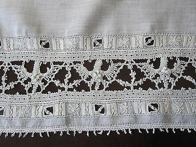 13 Pc Antique Ivory Linen Reticella Italian Bobbin Lace Placemats Runner Napkins