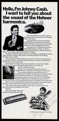 1970 Hohner Harmonica Johnny Cash photo vintage print ad
