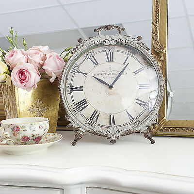 Shabby Cottage Chic French Vintage Antique Style Metal Desk Clock Grey Glass