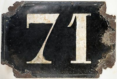 Large old black French house number 71 door gate plate plaque enamel metal sign