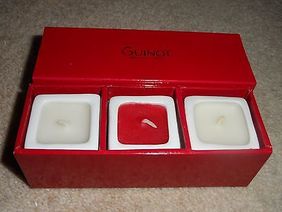 3 x GUINOT INSTITUT NEW RED & WHITE CANDLES GIFT SET IN BOX
