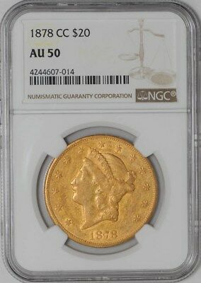 1878-CC $20 Gold Liberty AU50 NGC