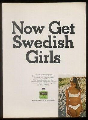 1967 Swedish Girl bikini photo Skin Bracer print ad