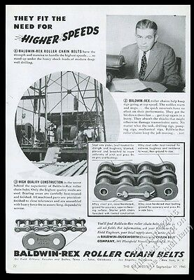 1945 Baldwin-Duckworth oil well drilling chain photo Higher Speeds print ad