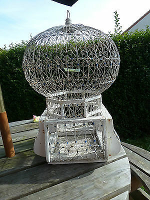 🐦  Large Vintage Turkish Bird Cage Ornate Wood & Wire With Swing / Perch  🐦