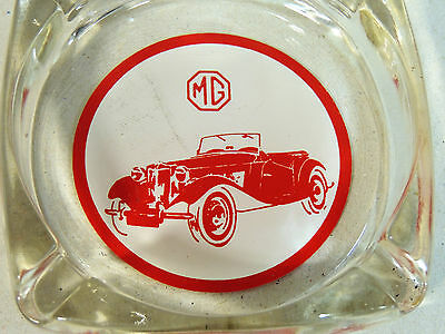 vintage c1960s MG Car Automobile Glass ASHTRAY Dealer Showroom Advertising Auto