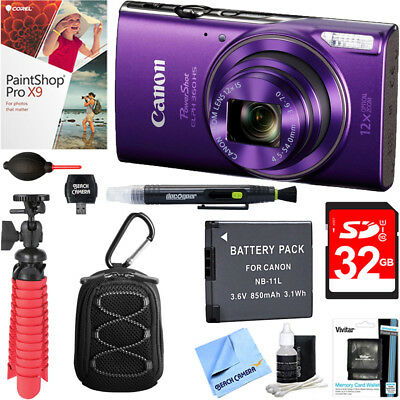 Canon PowerShot ELPH 360 HS Digital Camera (Purple) + 32GB Deluxe Accessory Kit