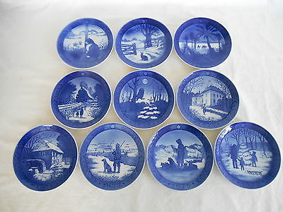 10 ROYAL COPENHAGEN ANNUAL BLUE & WHITE CHRISTMAS PLATES 1970 to 1979