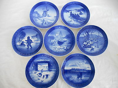 7  ROYAL COPENHAGEN ANNUAL 1960s  BLUE & WHITE CHRISTMAS PLATES 1963 to 1969