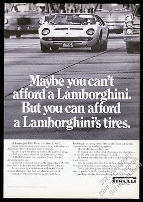 1970 Lamborghini P400 Miura car photo Pirelli tires vintage print ad