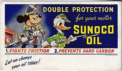 1941 Sunoco Oil Disney Mickey Mouse Donald Duck Ink Blotter Rare Original
