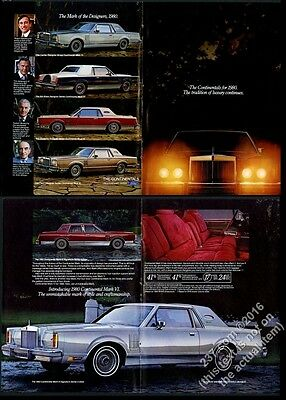 1980 Lincoln Continental Town Car Coupe & Mark VI 4 designer car photo print ad