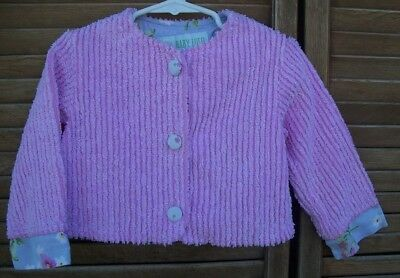 BABY LULU~pink chenille jacket~24 months~24M~button front~
