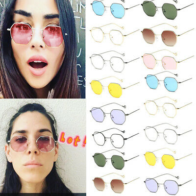 Vintage Retro Hexagon Square Sunglasses Mirrored Metal Frame Glasses Men Women