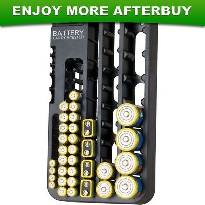 OZSTOCK BATTERY ORGANISER WITH TESTER 8x D 10xC 25x AA 10x AAA 8x 9V batteries