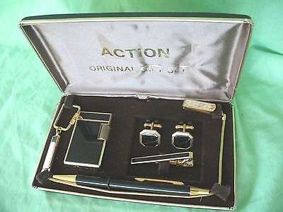 Vintage German made Gentleman's Action gift set lighter cufflinks pen tie clip