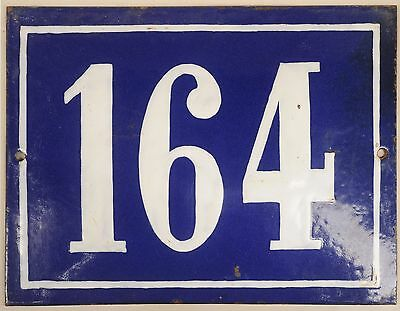 Big blue French house number 164 door gate plate plaque enamel steel metal sign