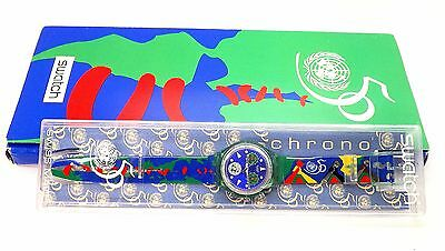 Nib 1994 Swatch Chrono 50Th Anniversary Of United Nations Chronograph Wristwatch